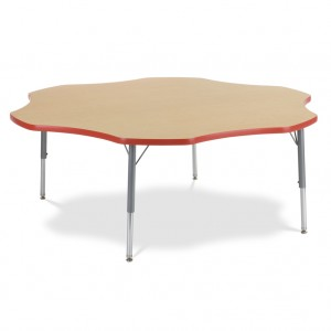 light brown, flower shaped table for schools or classroom