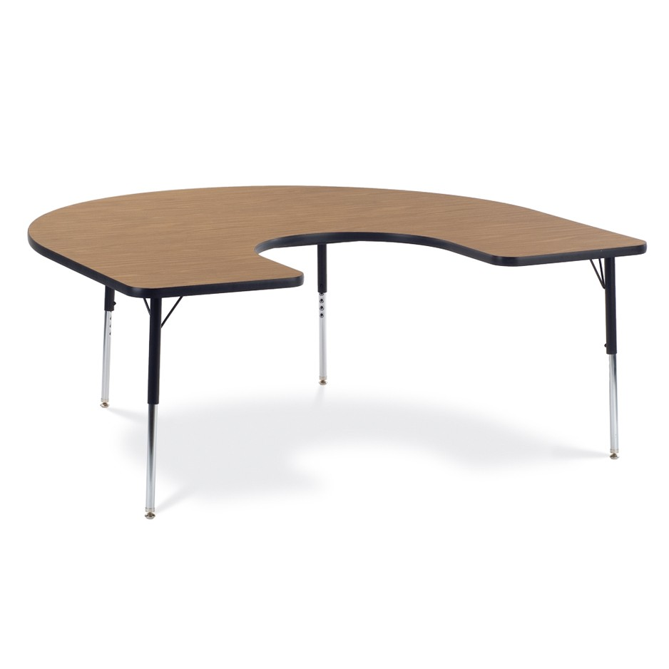 brown, horseshoe-shaped classroom table