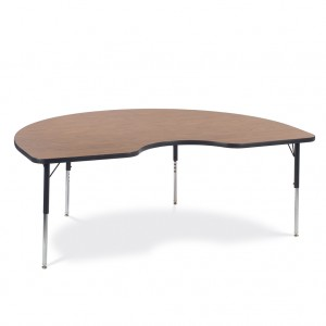 brown classroom table in a half-moon shape