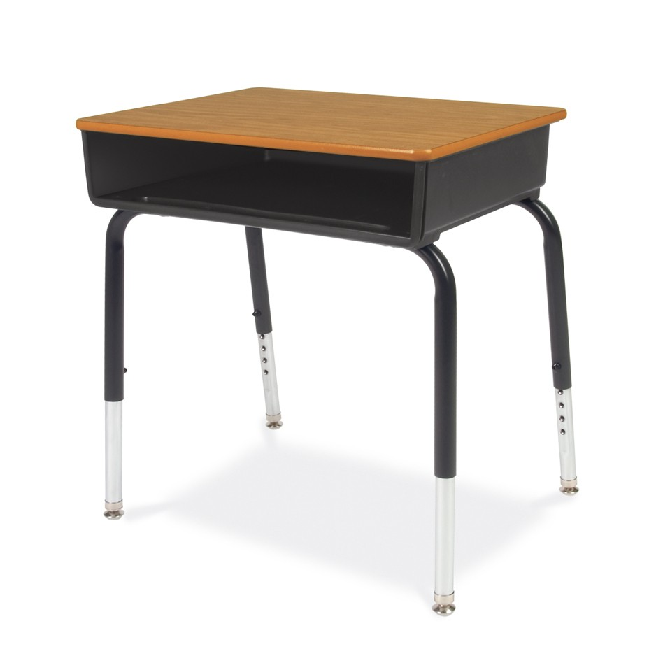 young student desk with plastic book box and laminate top