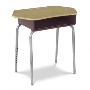 young student desk with plastic book box and hexagon-shaped plastic top
