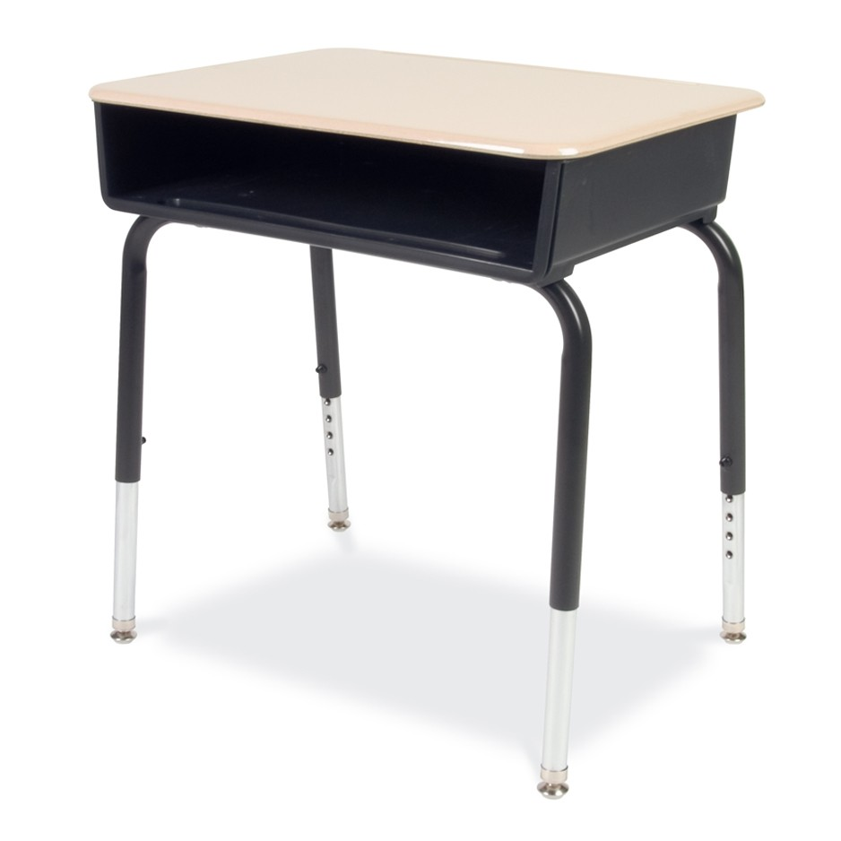 young student desk with plastic book box and hard plastic top