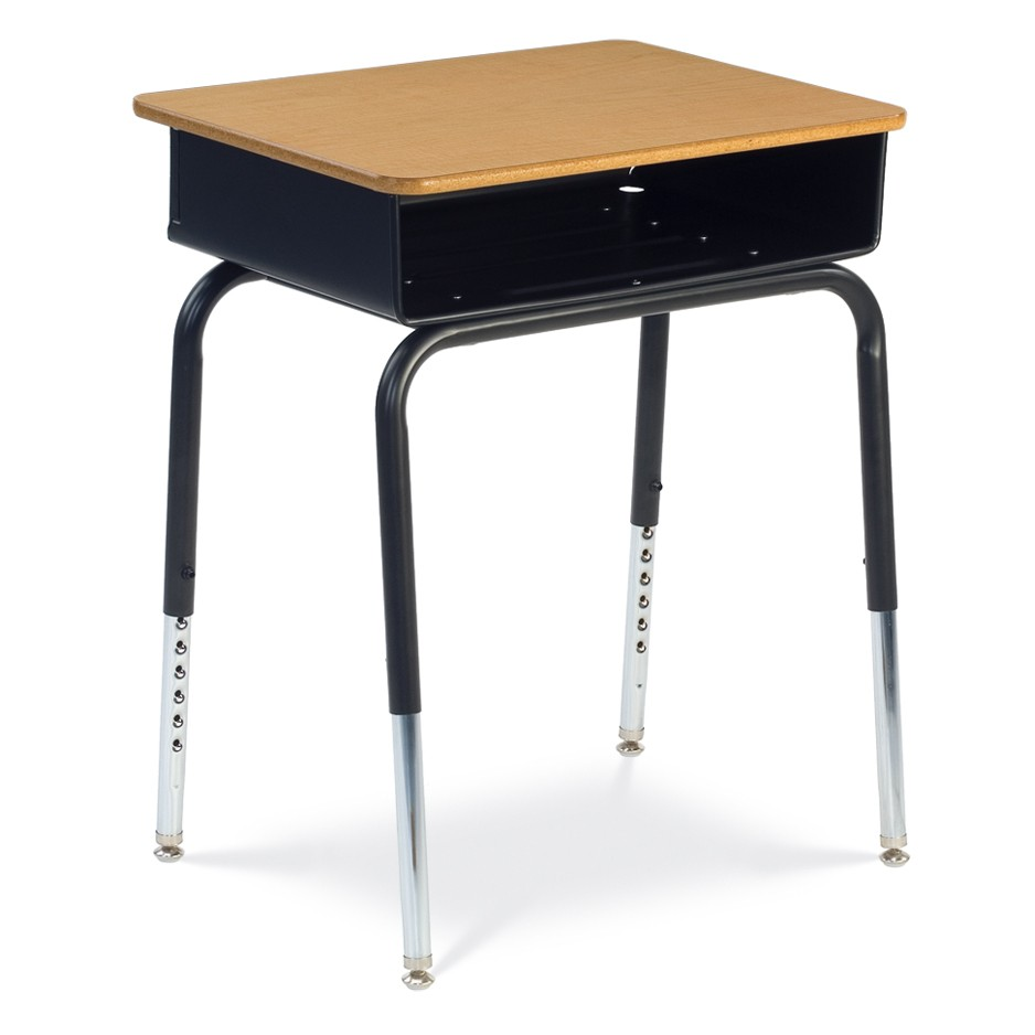 young student desk with metal book box and laminate top