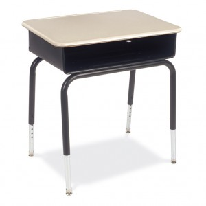 young student desk with metal book box and hard plastic top