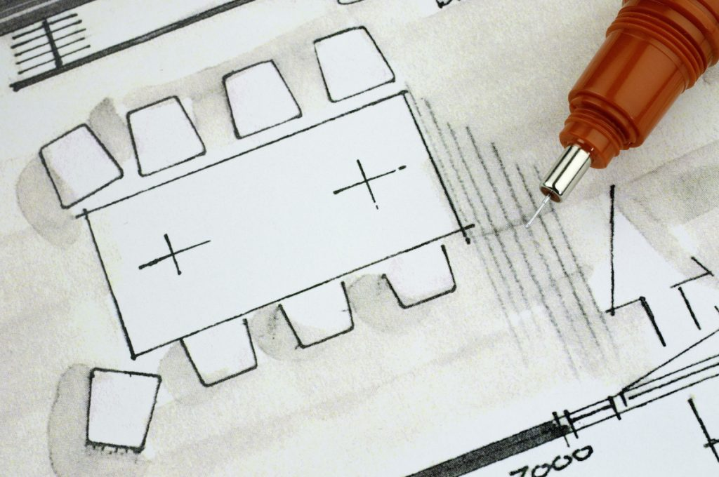 Classroom design blueprint with seating layout plans